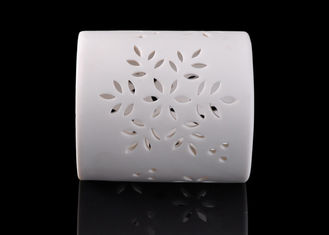 Matte White Ceramic Tea Light Holders Pierced Flower Pattern Cylinder Shape