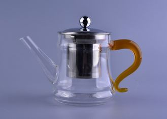 Round Clear Glass Teapot With Stainless Steel Infuser & Lid , Colored Handle