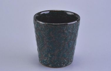 Recycled  100ml Ceramic Candle Holder , Votive Ceramic Candle Containers Rough Surface
